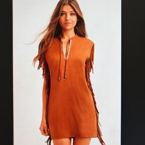 🍂Fringed faux suede dress🍂